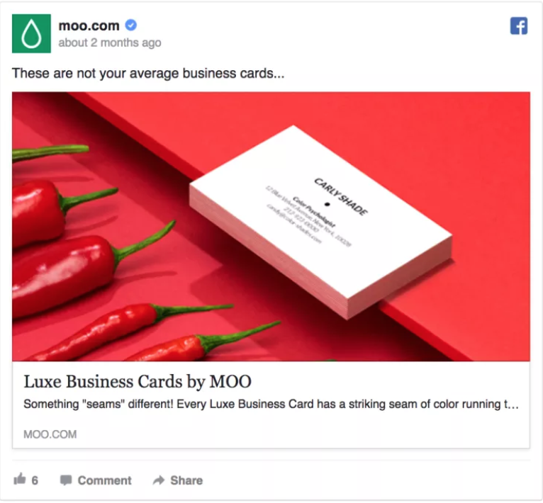 facebook ad for moo business cards