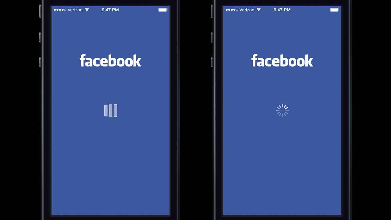loading animation in the facebook ios app left they blamed the app for the delay but when users were shown the ios system spinner right