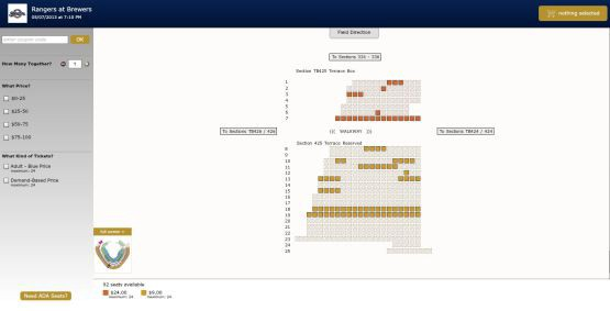 An Example Of The Online Seating Map Now Available On Brewers
