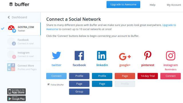 You can batch the social media marketing process with Buffer