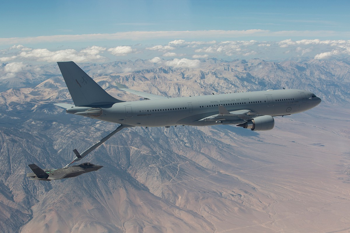 A U.S. Air Force F-35A links up with an RAAF KC-30 tanker during tests. Air Force photo