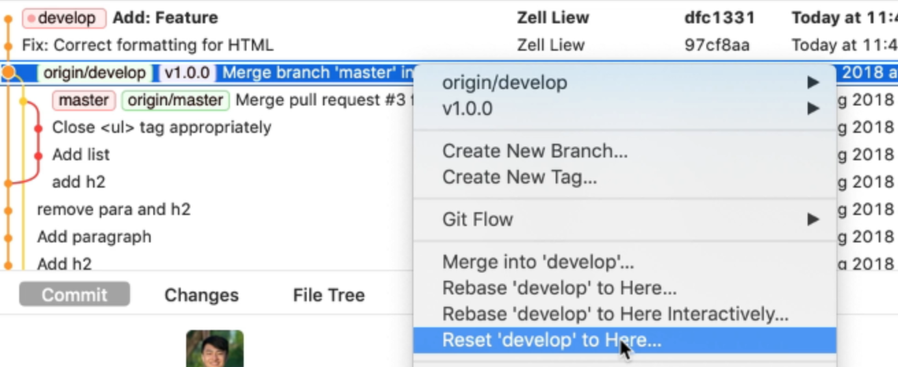 git revert to previous commit and push