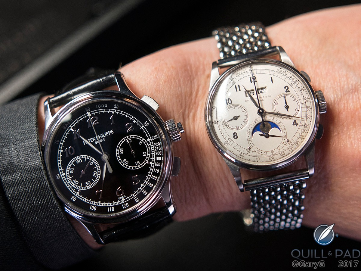Modern and vintage classics: Patek Philippe Reference 5370P on the author's wrist with Reference 1518 in stainless steel, November 2016