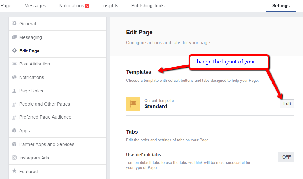 New facebook business page templates subsign medium in your edit page options therell be a new templates listing click edit to view your template options accmission Choice Image