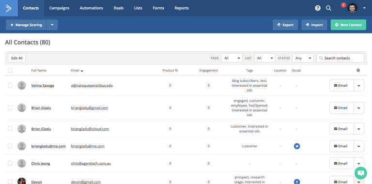activecampaign contacts overview