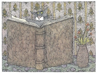 Cat reading a book...?