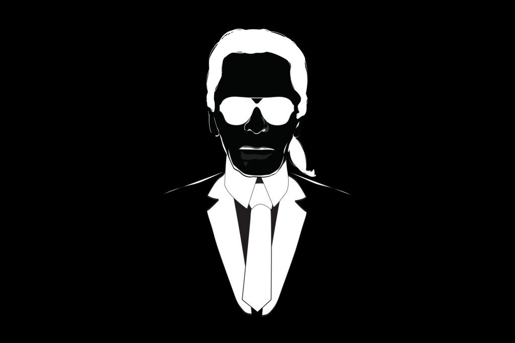 Karl Illustration of Lagerfeld in black and white