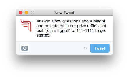 Tweet about a Magpi poll