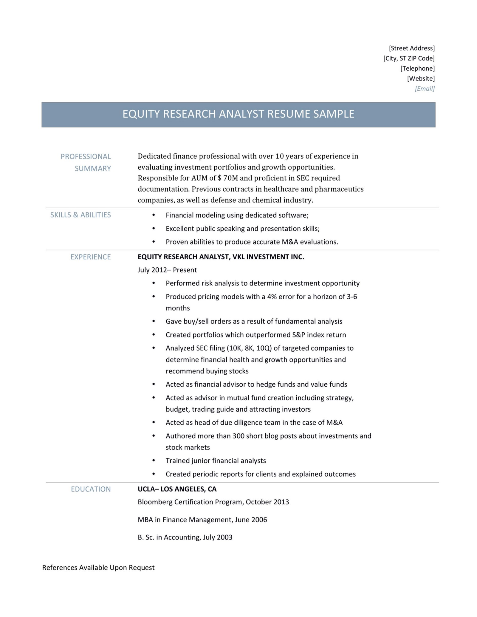 Resume Template For Equity Research Analyst