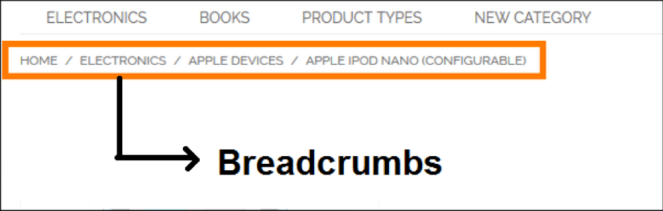 an example of breadcrumbs on an ecommerce website