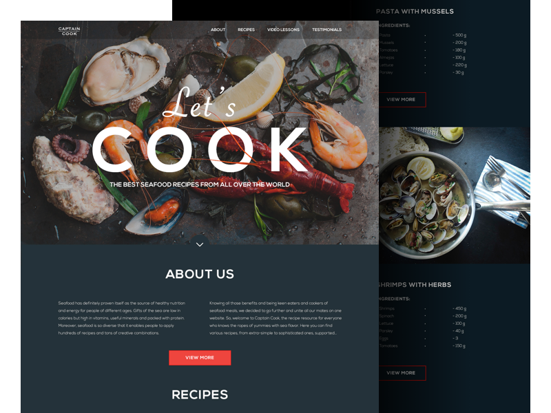 Web of life collection of creative web design concepts landing page for the website of seafood recipes forumfinder Gallery