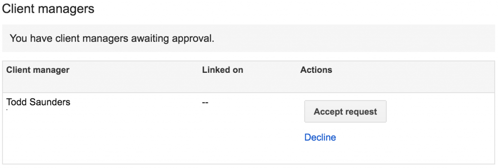 Adwords account access granting approval