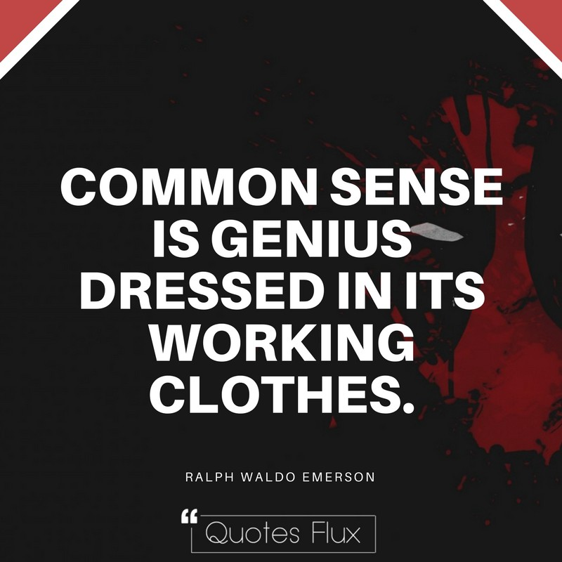 COMMON SENSE IS GENIUS DRESSED IN ITS WORKING CLOTHES - RALPH WALDO EMERSON