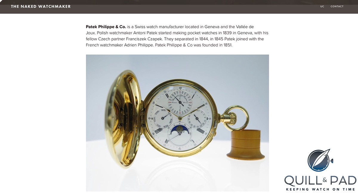 The Naked Watchmaker: Patek Philippe pocket watch (site under construction)