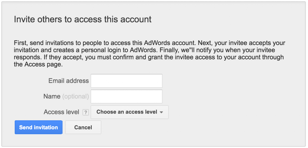 give adwords account access