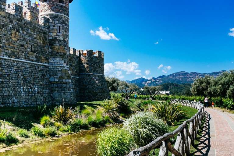 View from the entrance at Castello di Amorosa.