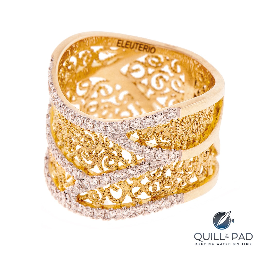 Eleuterio filigree ring in yellow gold with diamonds from the Heritage collection