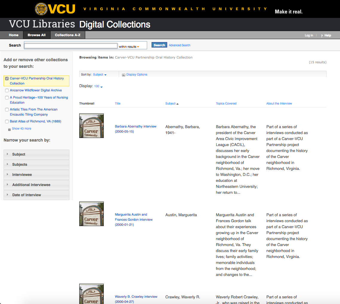 VCU Collection Browse