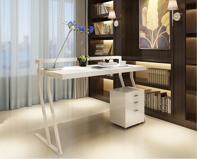 The Modern Office Desk With Simple Yet Attractive Design. White Lacquer  Finish Adorns This Desk With Side Bar To Avoid The Falling Of The Items  From The ...