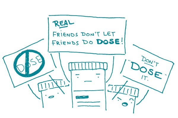 Illustration of people talking about dose.