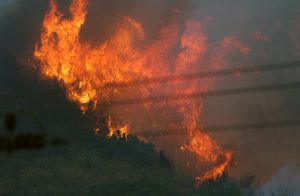 Wild fires engulf the hills and mountains of Simi Valley, California (CA).