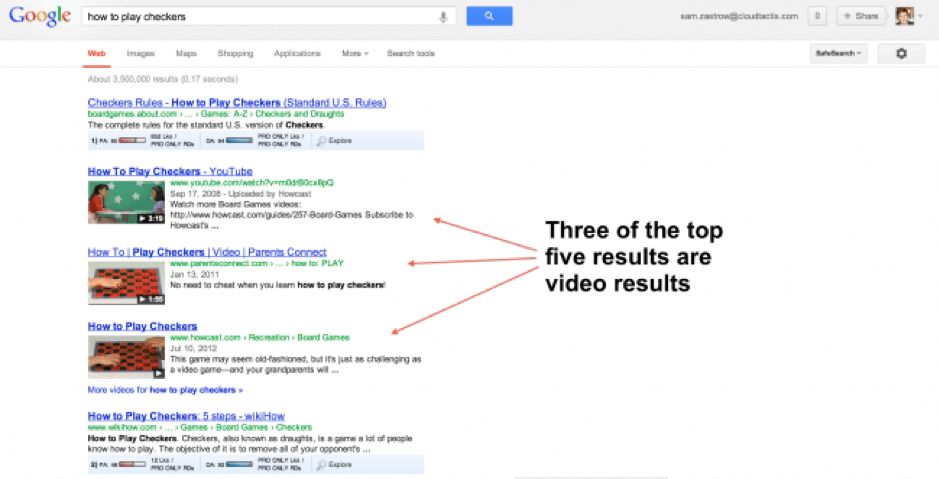 Youtube video results in google search