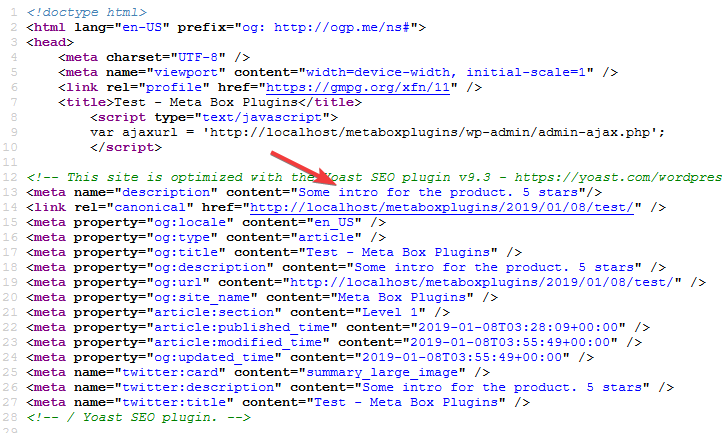 View meta description in page source