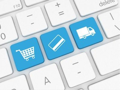 eCommerce shopping cart credit card delivery keyboard buttons