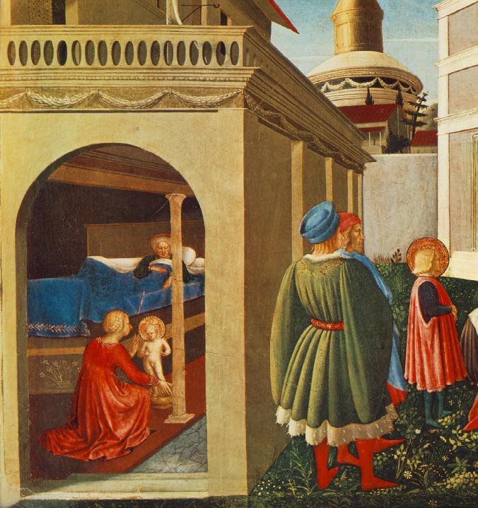 Fra Angelico, The Story of St. Nicholas, Birth of the Saint, 1447-48, tempera and gold on panel, Galleria Nazionale dell'Umbria, Perugia, Italy