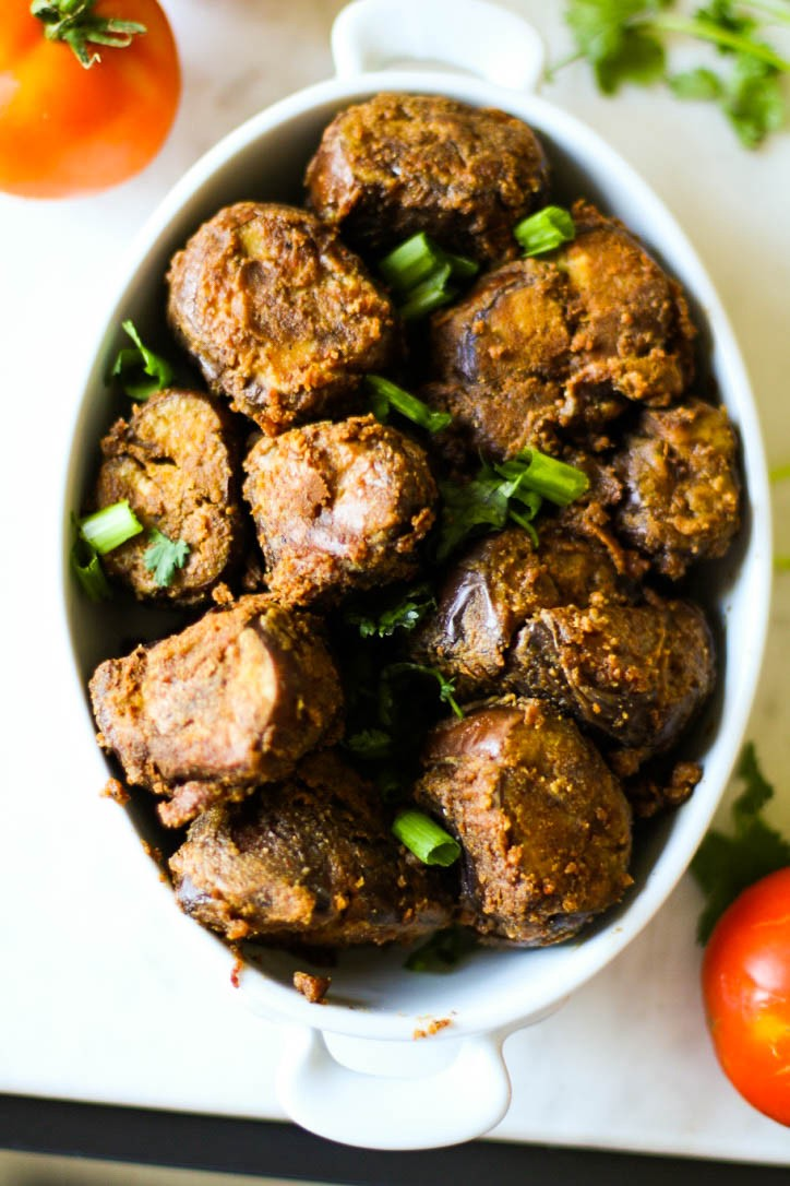 South Indian Stuffed Eggplant Curry
