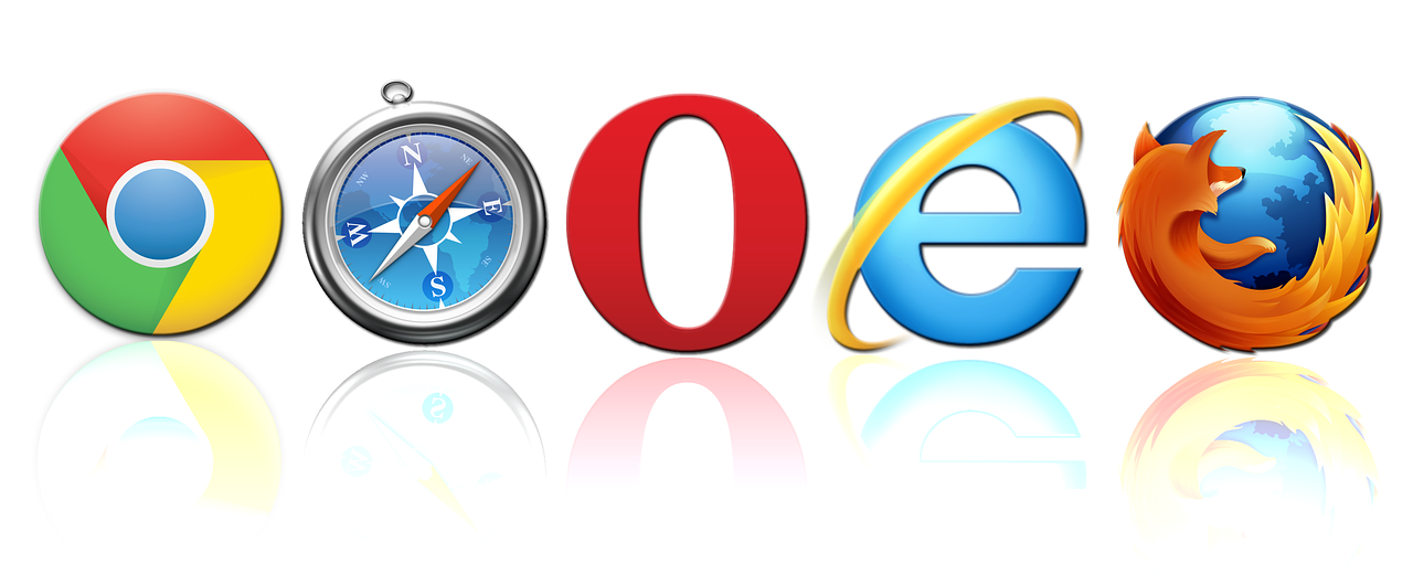 5 most common web browsers' logos