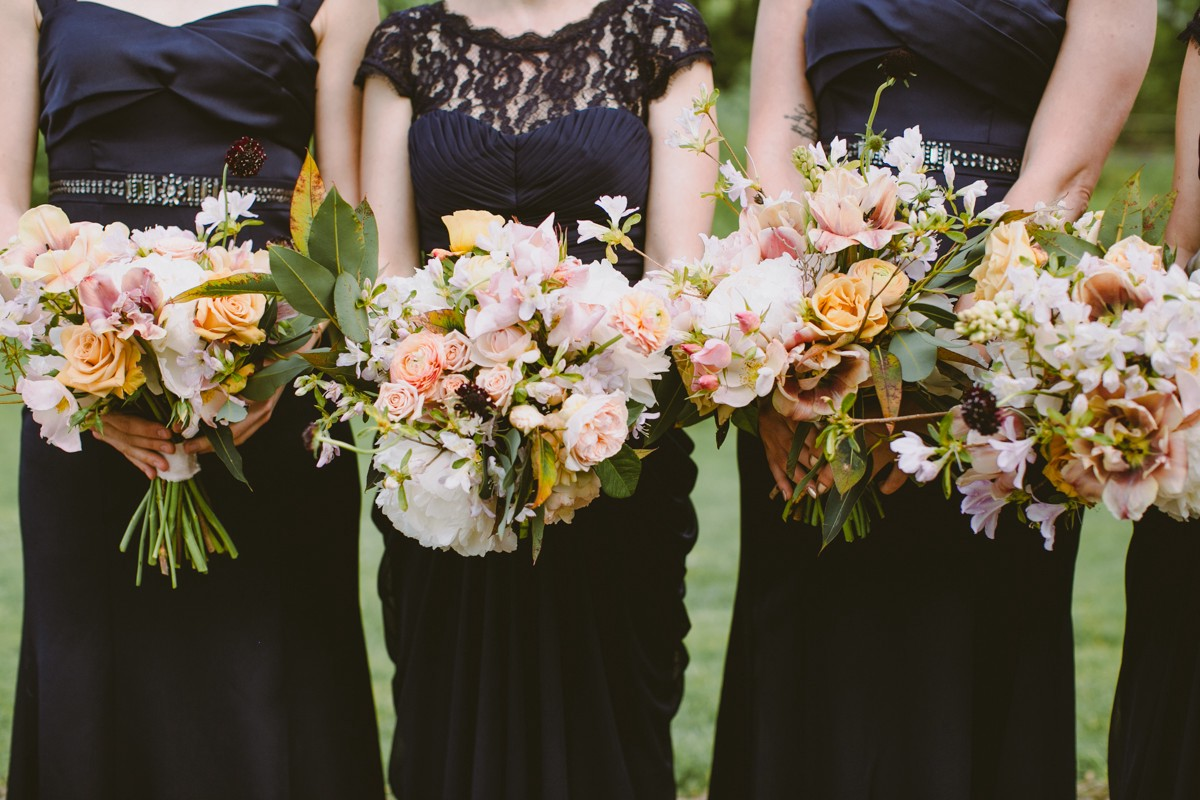bridesmaid bouquets - http://ruffledblog.com/modern-country-meets-secret-garden-wedding