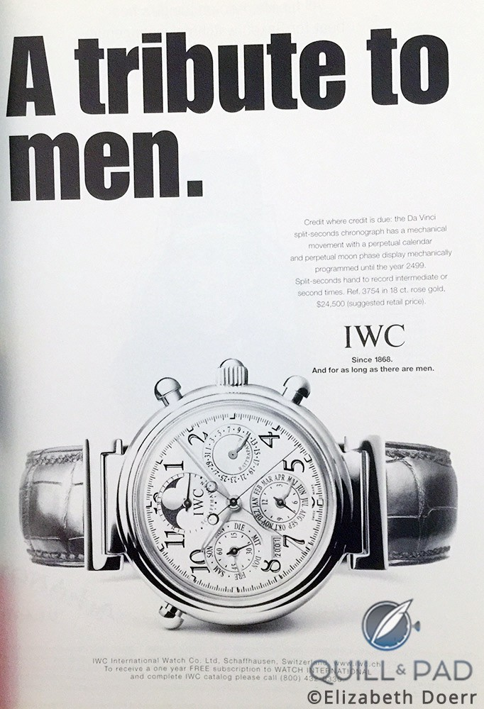 IWC advertisement from 2001