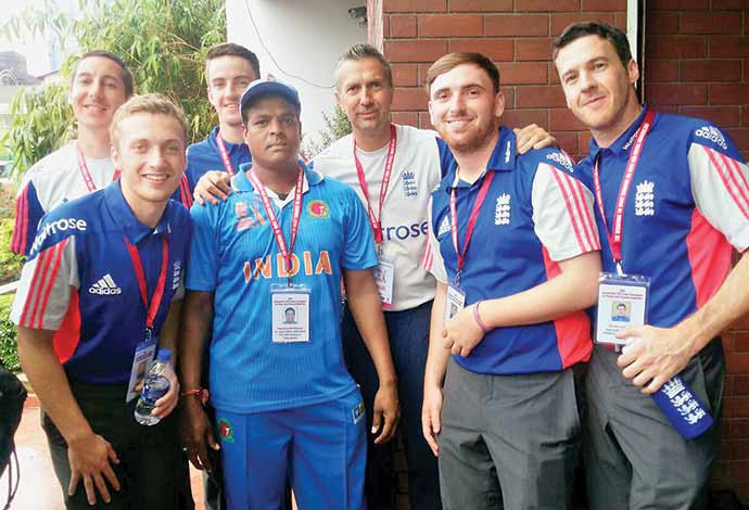 Raju Mujawar (fourth from left) along with his fellow cricketers from various countries, during an international tournament he was participating in as part of the Indian team