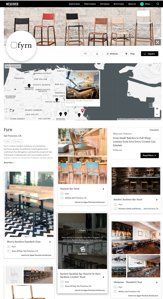 Where to find Fyrn chairs in San Francisco. Fyrn page of their Wescover map.