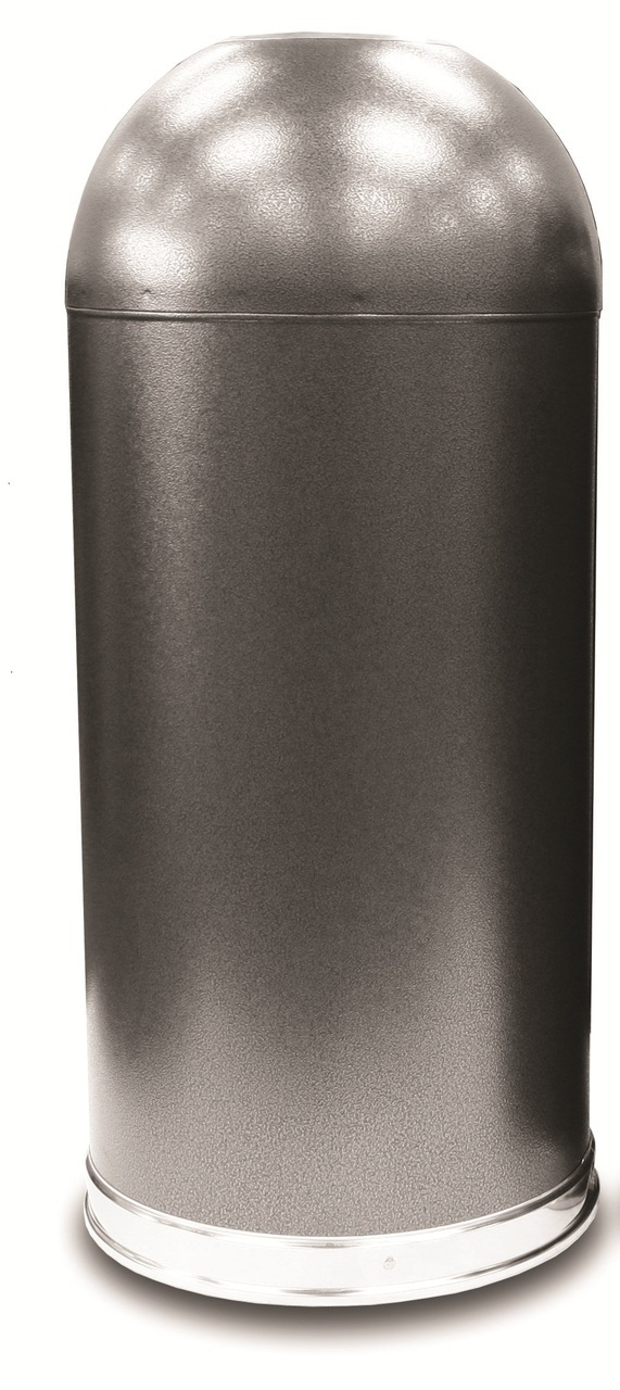 metal open dome top trash can