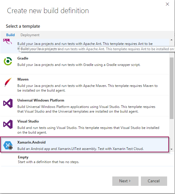 Add new build definition - Xamarin Android