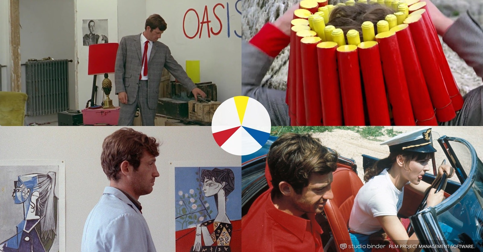 How to Use Color in Film – Example of Movie Color Palette and Schemes – Triadic Colors – Pierrot le Fou-min