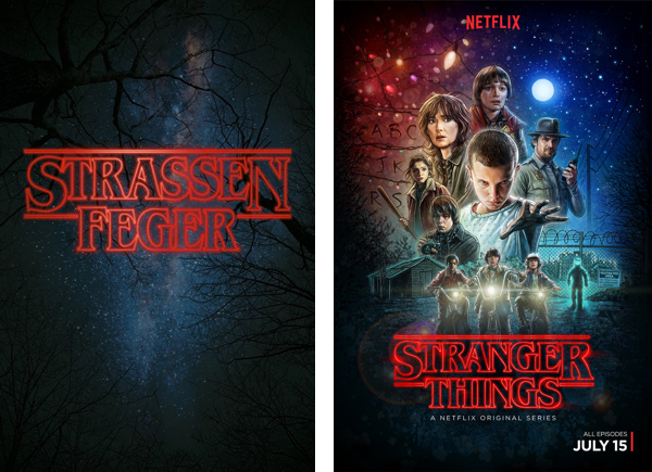 LR German adaption of Stranger Things ©Martin Flor and netflix official poster