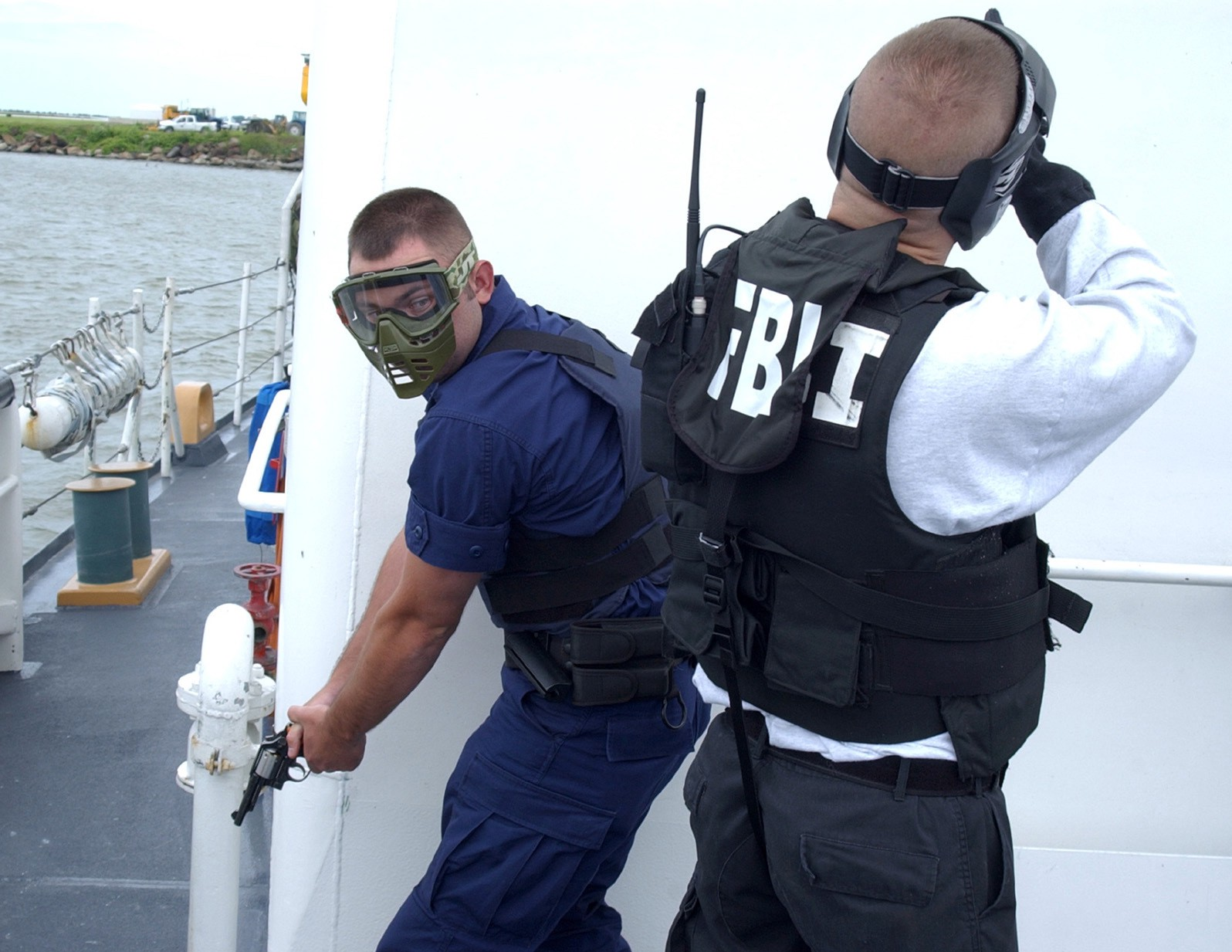 CLEVELAND, Ohio (June 4, 2004) - Petty Officer 2nd Class John Peters, Coast Guard Station Lorain, Ohio, searches for terrorists aboard the Coast Guard Cutter Neah Bay during anti-terrorism training with the FBI. USCG photo by PA1 CHarles C. Reinhart