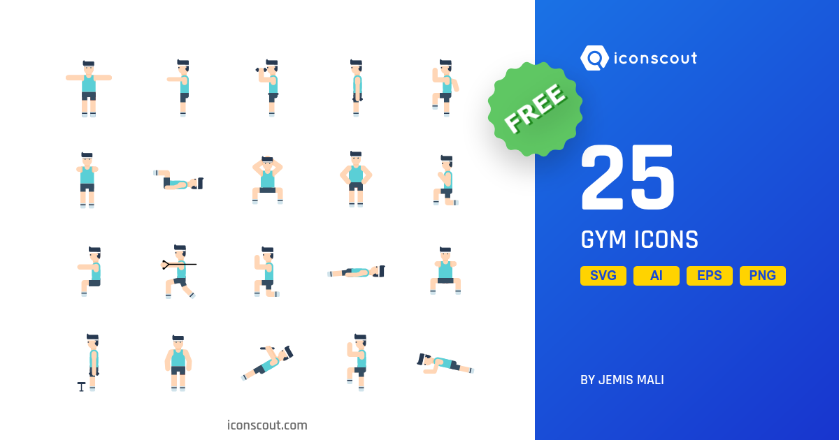 Gym icons by Jemis Mali