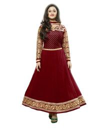 Royal N Rich Semi Stitched Red Dress Material