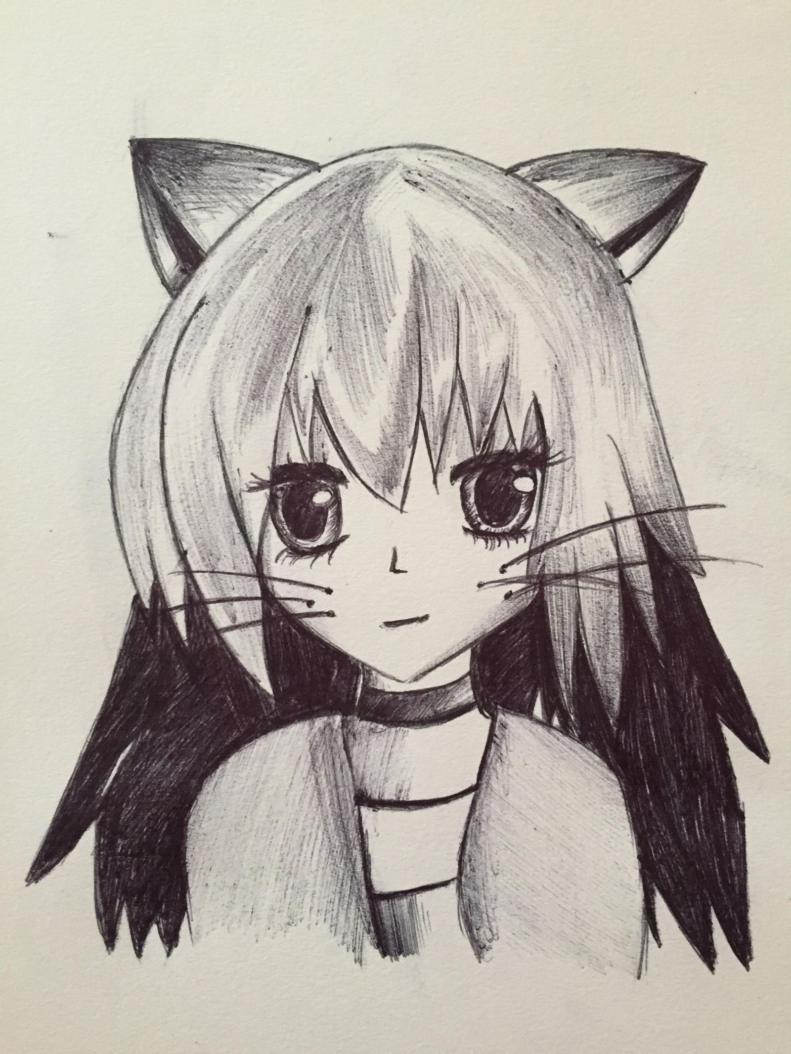 Cat anime girl drawing original art by kaylin
