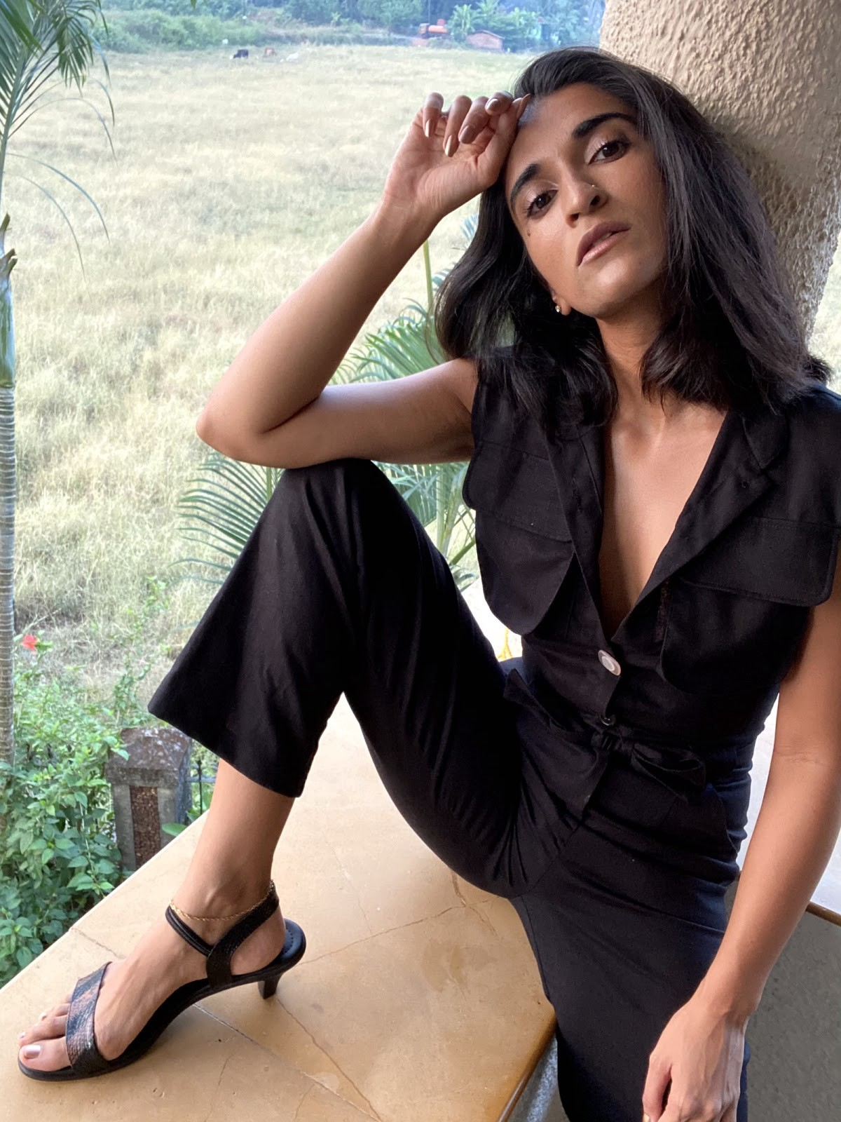 Shalini Sarena, the founder of WomenInTech wearing the Pentha Jumpsuit, custom-made for her