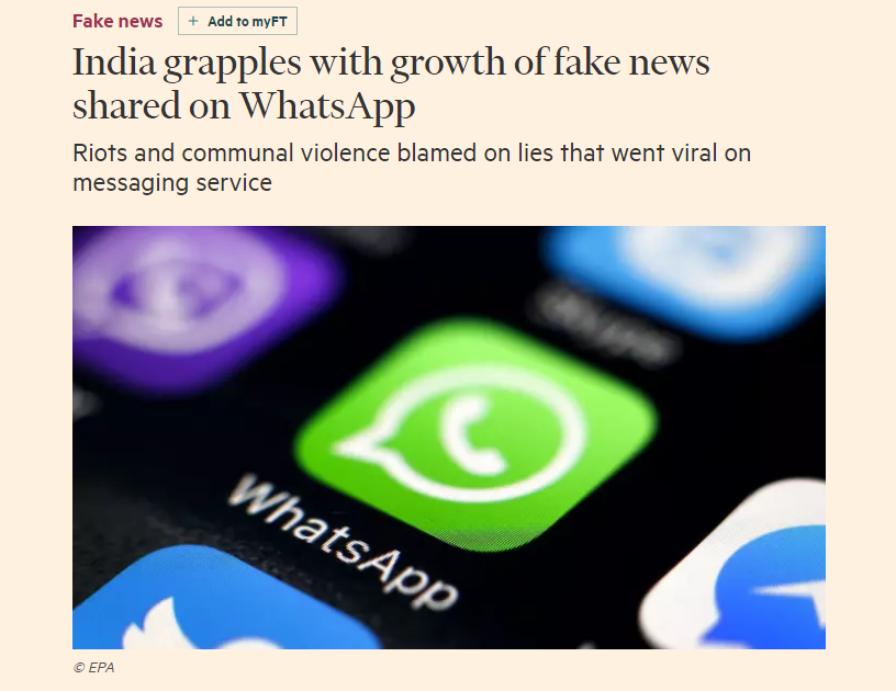 India grapples with growth of fake news shared on WhatsApp