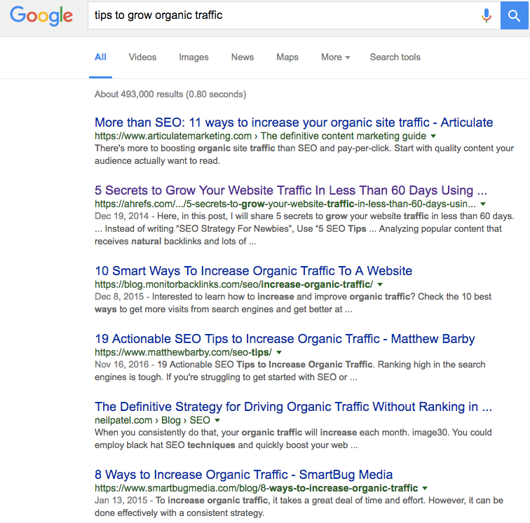 Tips to grow organic search traffic