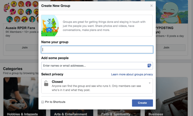 Naming a facebook group