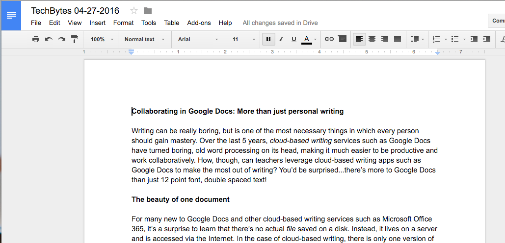 Google Docs is for more than just personal, boring writing: Collaboration in cloud-based writing apps
