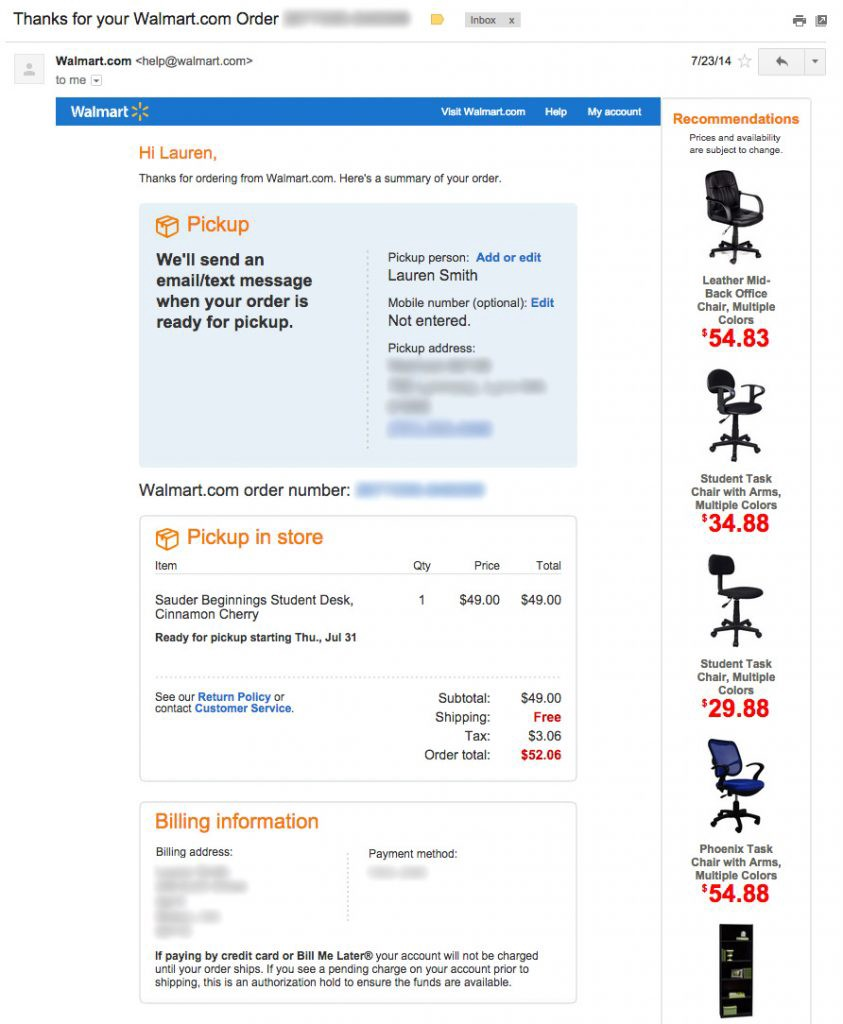 walmart-upsell-order-confirmation-email