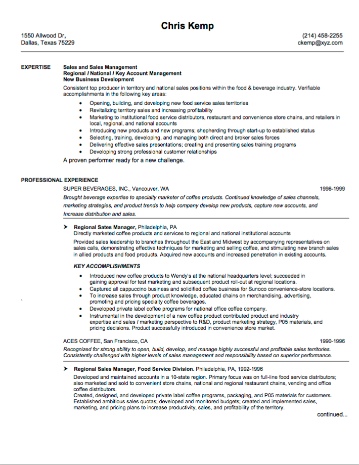 Great sales resume examples